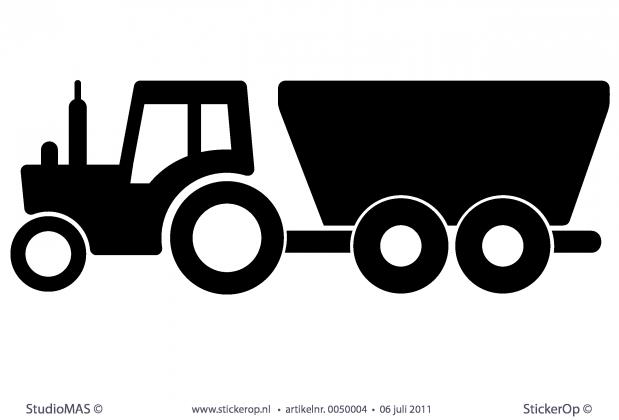 Muurstickers thema u0026quot;de boerderiju0026quot;- Tractor met aanhanger