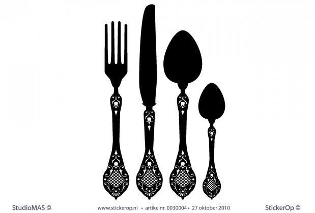 """Muurstickers Keuken Bestek : Muursticker met thema """"keuken""""- Bestek"""