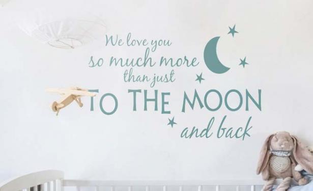 Muurstickers Kinderkamer Belgie.Muursticker Versje Babykamer We Love You To The Moon And