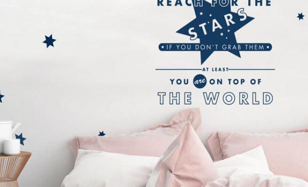 Slaapkamer Muur Quotes : Stickerop muursticker reach for the stars