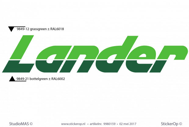 sticker retro logo Lander 2 kleuren