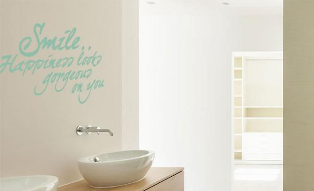 badkamer engelse quote smile happiness