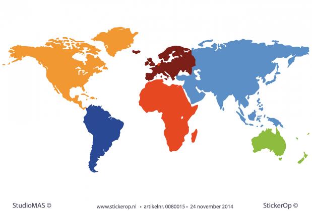 Muursticker wereldkaart in meerdere kleuren stickerop wereldkaart in meerdere kleuren altavistaventures Images