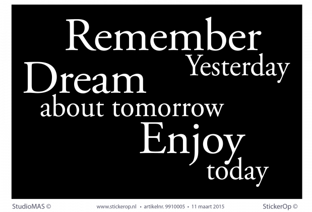 muurpaneel met tekst remember dream enjoy