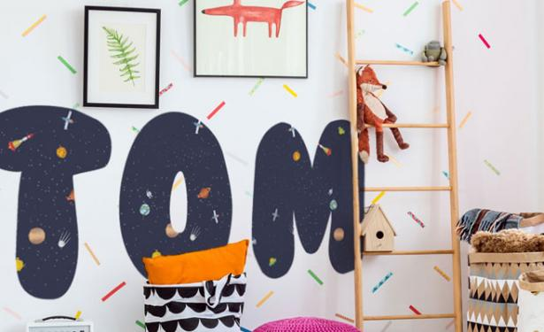 Behang Kinderkamer Ruimtevaart : Stickerop muurstickers losse letters alfabet ruimtevaart