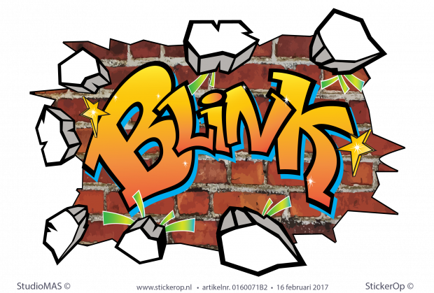 muursticker graffiti Blink