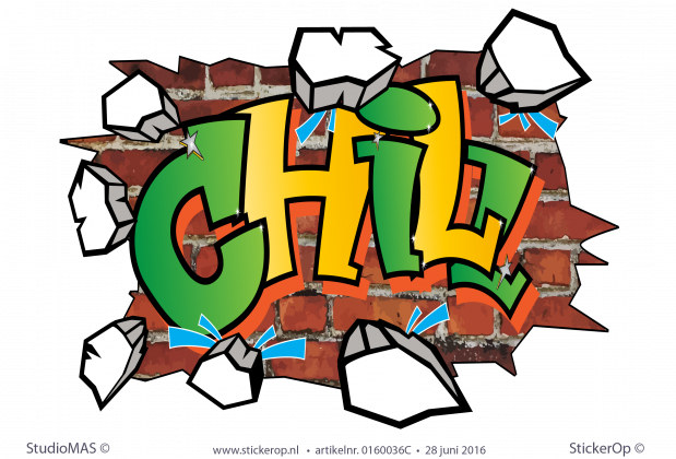 muursticker graffiti Chill