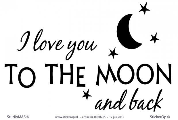 StickerOp - Muursticker versje babykamer - I love you to the moon and ...