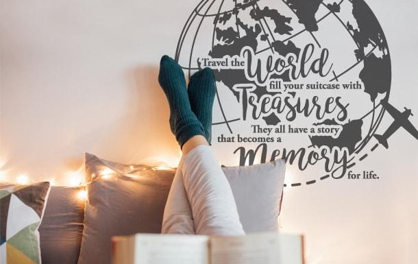 Muursticker wereldkaart Travel the world fill your suitcase with treasures they all have a story that becomes a memory for life-min