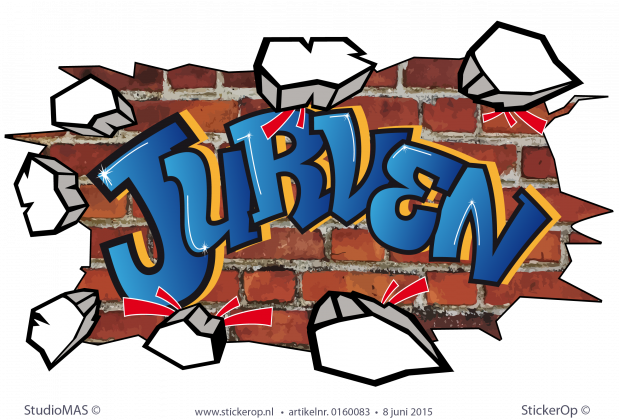 muursticker graffiti  type G Jurven