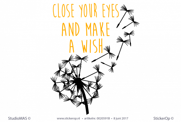 muursticker close your eyes and make a wish - staand twee kleuren