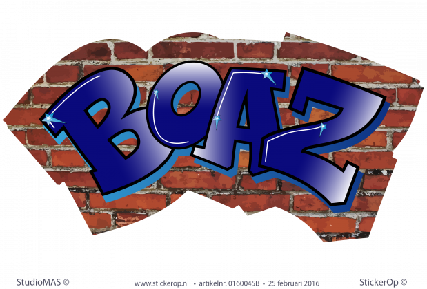 muursticker graffiti Boaz