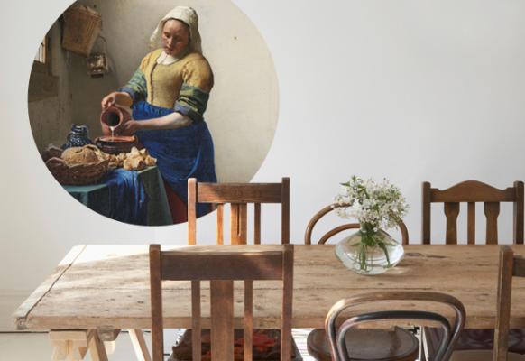 Muursticker Het Melkmeisje Johannes Vermeer