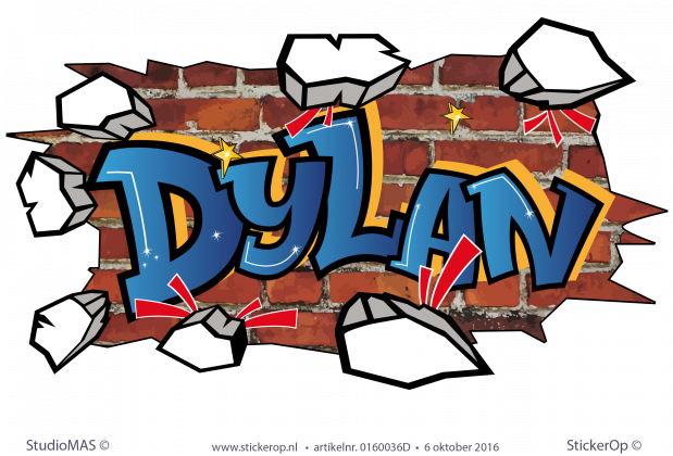 muursticker graffiti Dylan