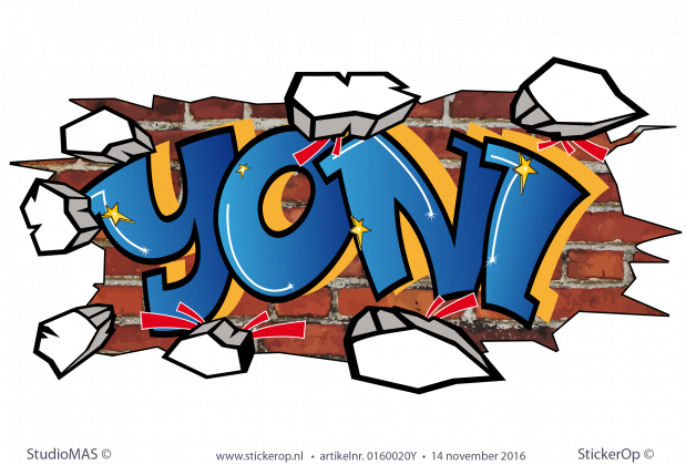 muursticker graffiti Yoni
