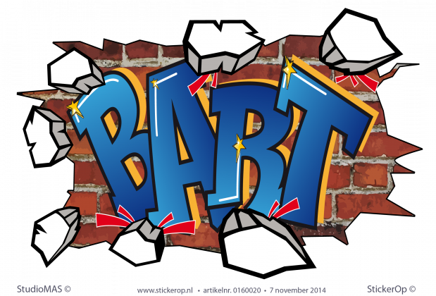 muursticker graffiti Bart