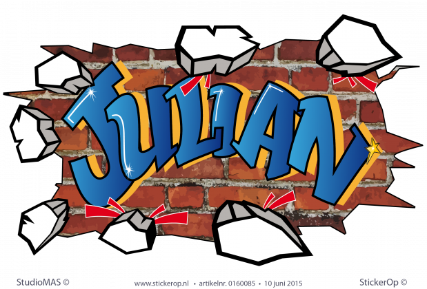 muursticker graffiti type G Julian