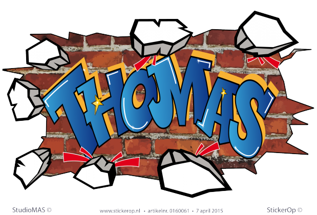 StickerOp - Muursticker full colour graffiti - Thomas