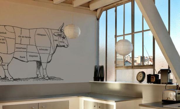 Muurstickers keuken koe in delen franse benamingen