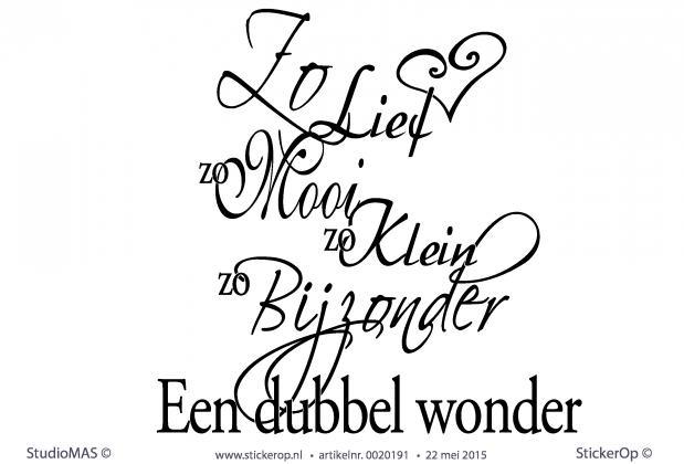 StickerOp - Muursticker tekst babykamer - Een dubbel wonder