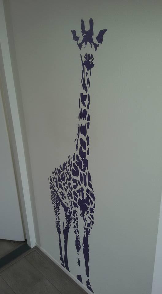 Muursticker Giraffe Kinderkamer.Muursticker Levensechte Giraf Vanaf Voren Gezien