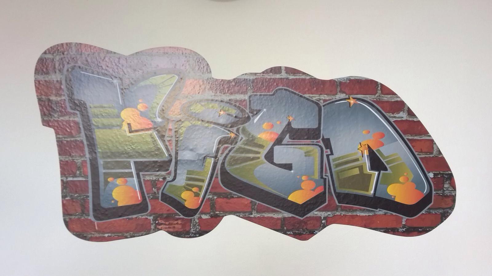 StickerOp - Muursticker graffiti op stenen muur - Stefan